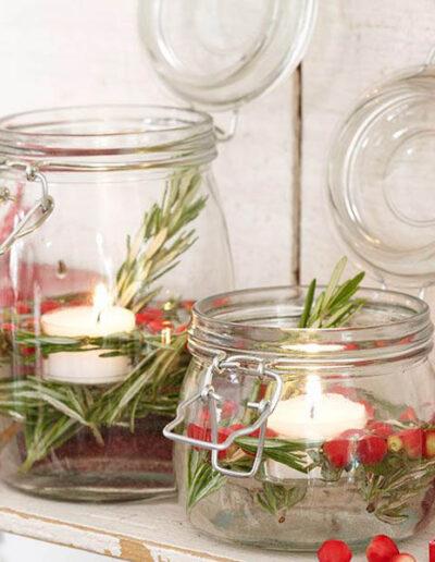 Świecznik zpływającymi świeczkami Kilner DIY